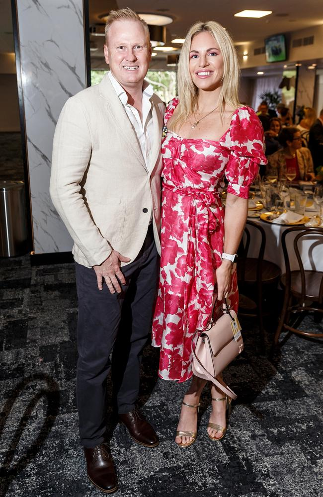 David Lutteral and Emily Seebohm at the opening of the Guineas Room at Eagle Farm Racecourse in December. Picture: Supplied/ Jared Vethaak