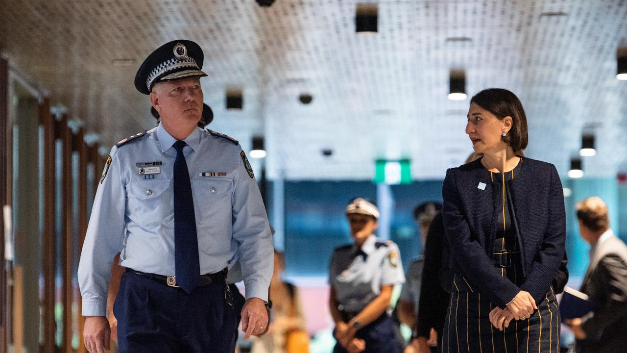 NSW Police Commissioner Mick Fuller and NSW Premier Gladys Berejiklian arriving at a press conference in Sydney. Picture: AAP Image / James Gourley