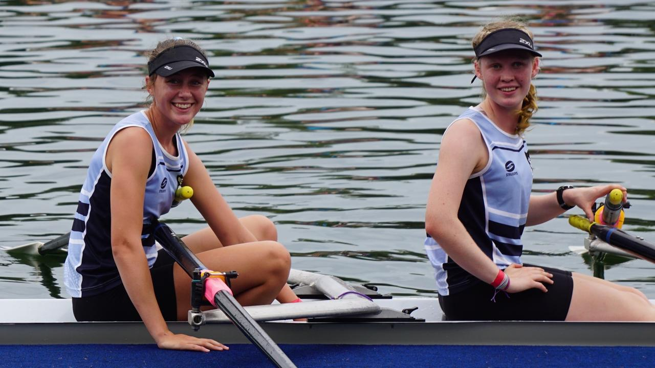Grafton High's McKenna Wearing and Nadia Smith after winning the Under-16 Girls Double Scull at the NSW Combined High Schools Championships. Photo Nicole Smith