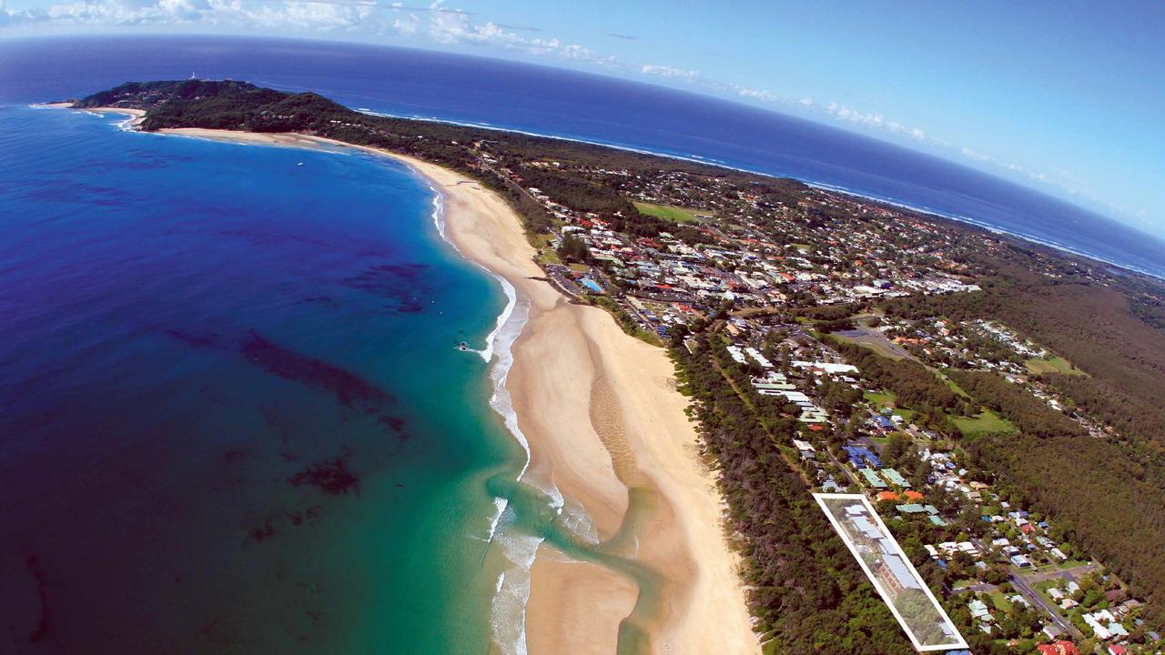 Belongil Beach, Byron Bay from the air.
