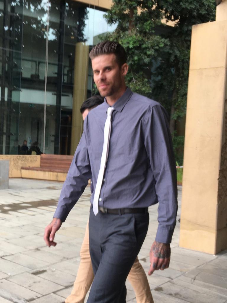 Hayden Richard Finnie leaves court after copping a huge fine and licence disqualification for evading police at high speed.
