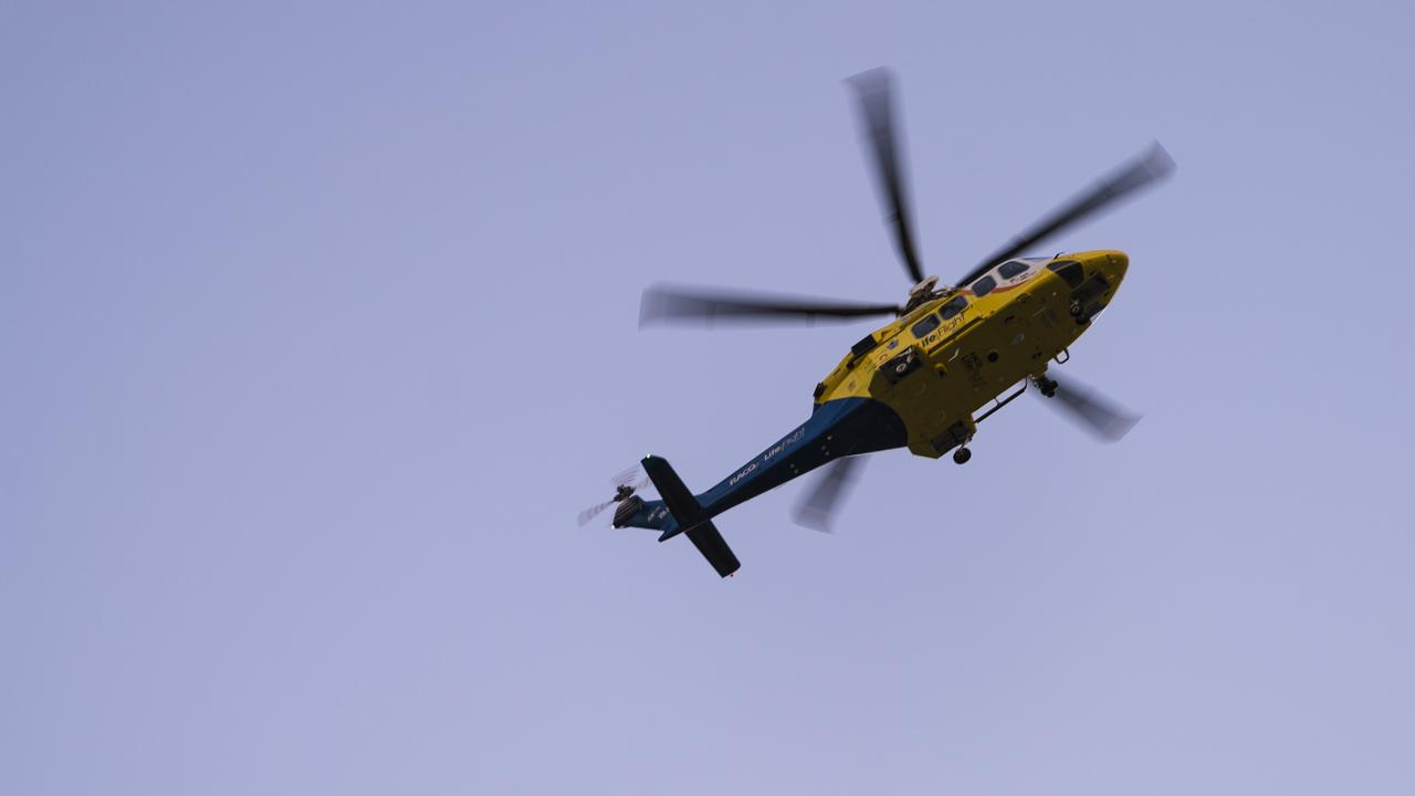 A rescue helicopter is responding to a two-vehicle crash in Fernvale on Thursday morning.