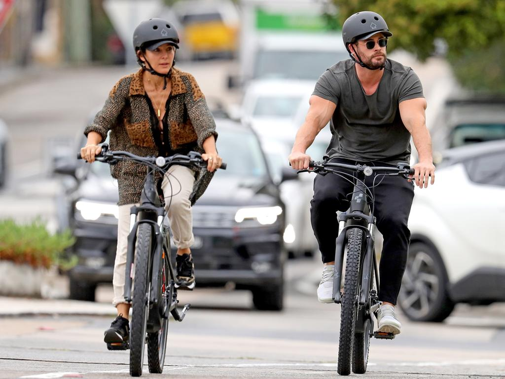 Chris Hemsworth and wife Elsa Pataky enjoy a bike ride in Sydney. Picture: Khapgg/Backgrid