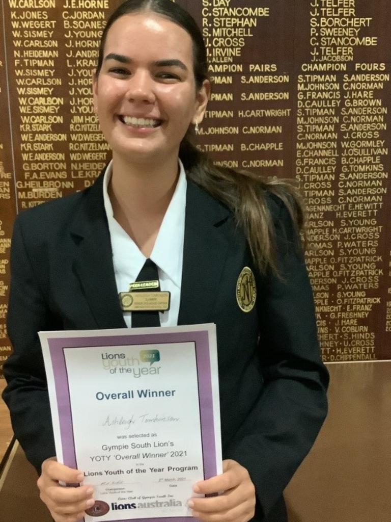 Ashleigh Tomkinson, winner of the Gympie South Lions Youth of teh Year 2021.