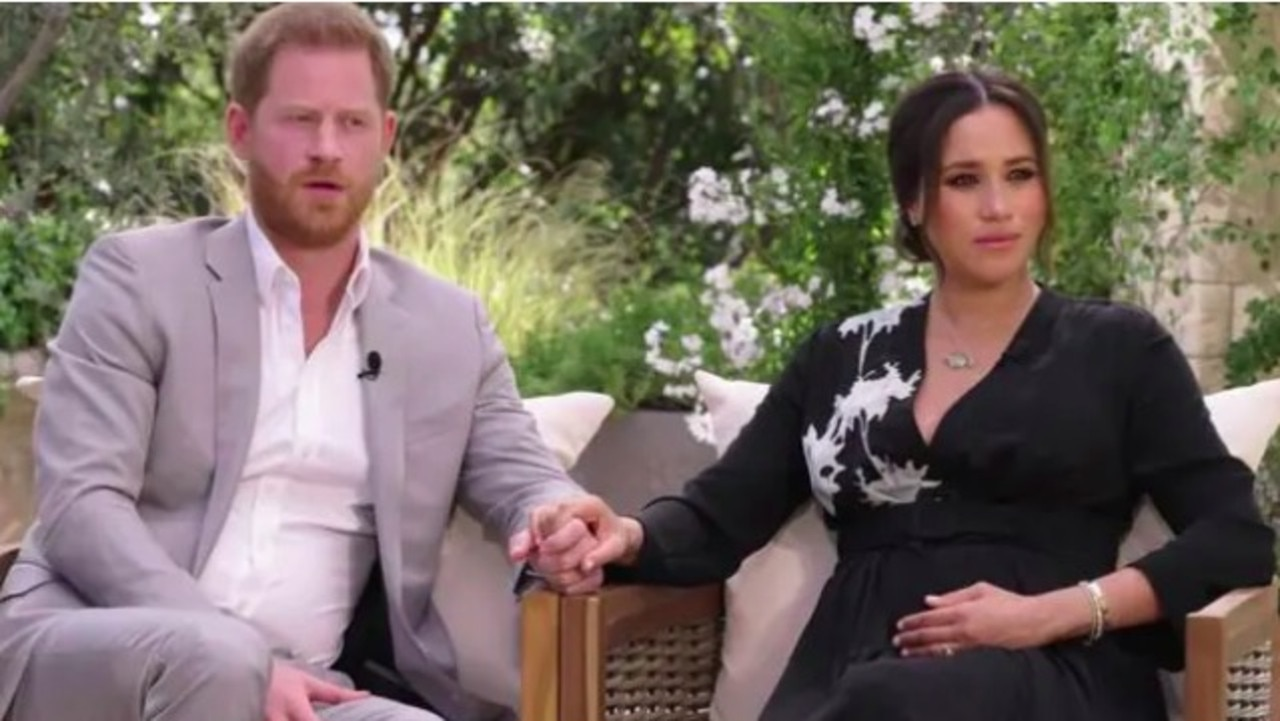 The dress Meghan wears in her upcoming interview with Oprah Winfrey has a white lotus flower design. Picture: CBS