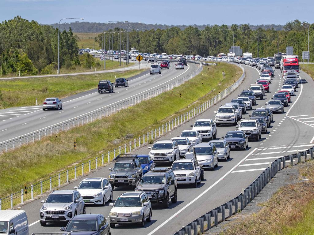 Heavy traffic delays are to be expected on the Bruce Highway after a two-vehicle crash on an on-ramp at Meridan Plains. Picture: Richard Walker
