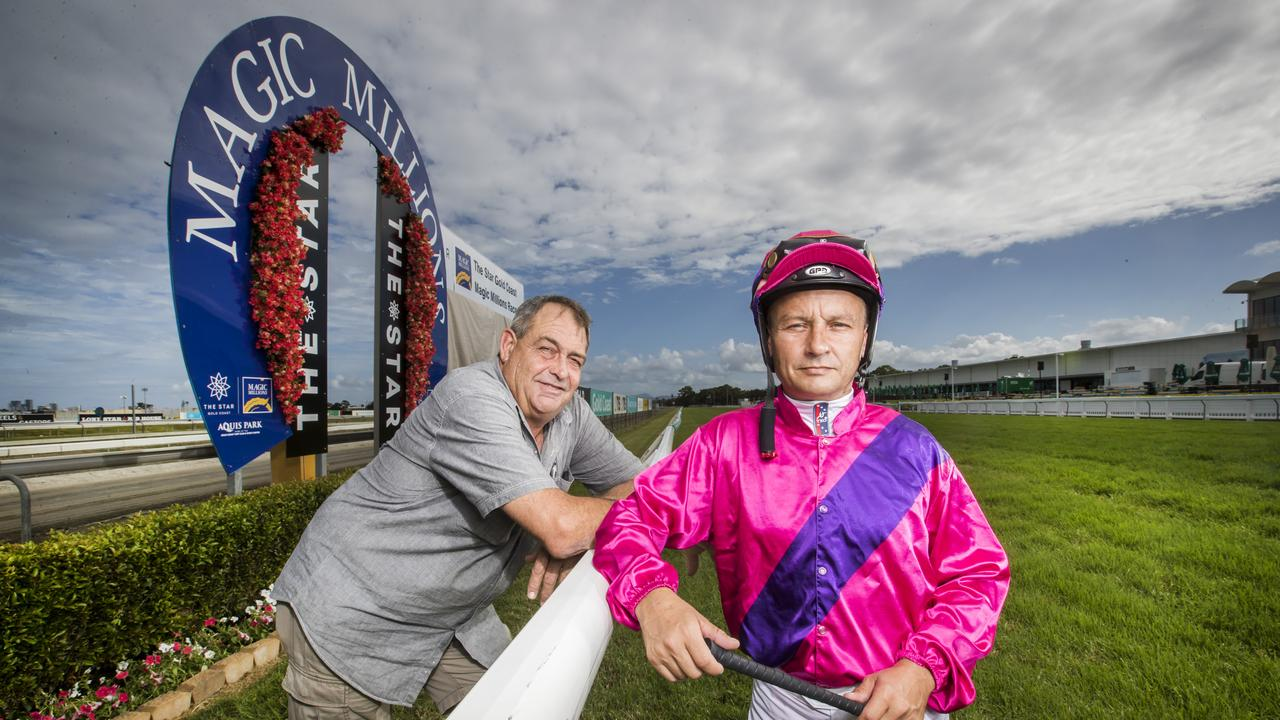 Rockhampton horse trainer John Wigginton and jockey Nigel Seymour, who teamed up with Magic Millions 2YO Classic contender Better Reflection at the Gold Coast Turf Club. Picture: NIGEL HALLETT