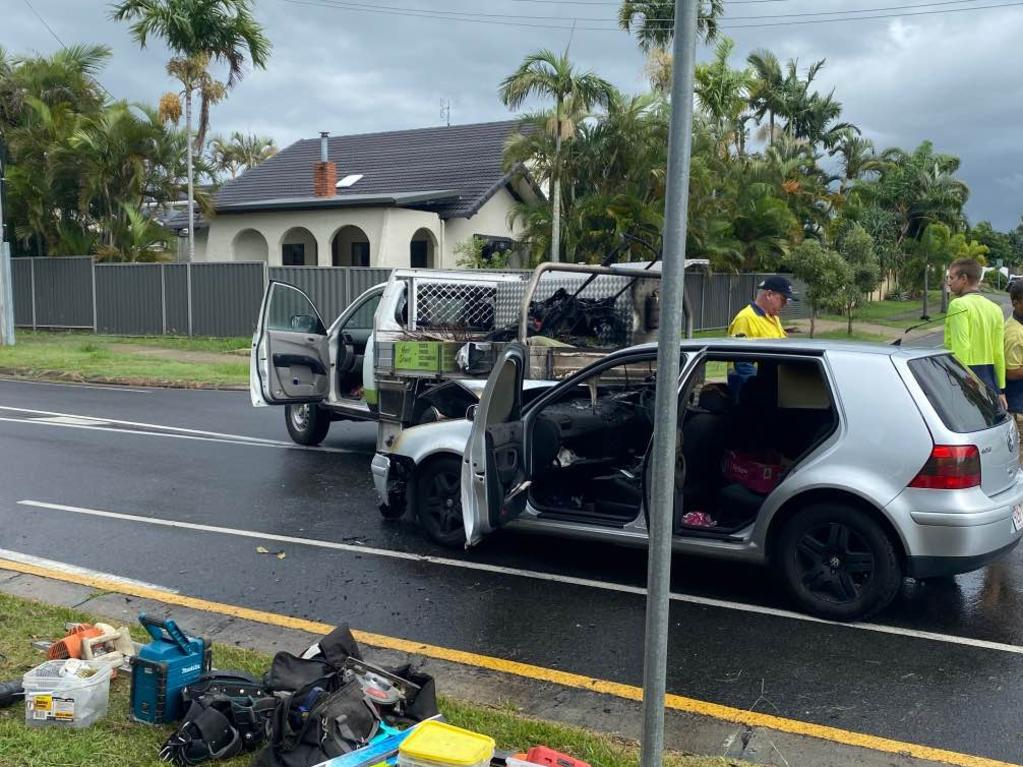A vehicle burst into flames after a crash with a truck on a busy backstreet in Mooloolaba this morning. Picture: Maddie Manwaring