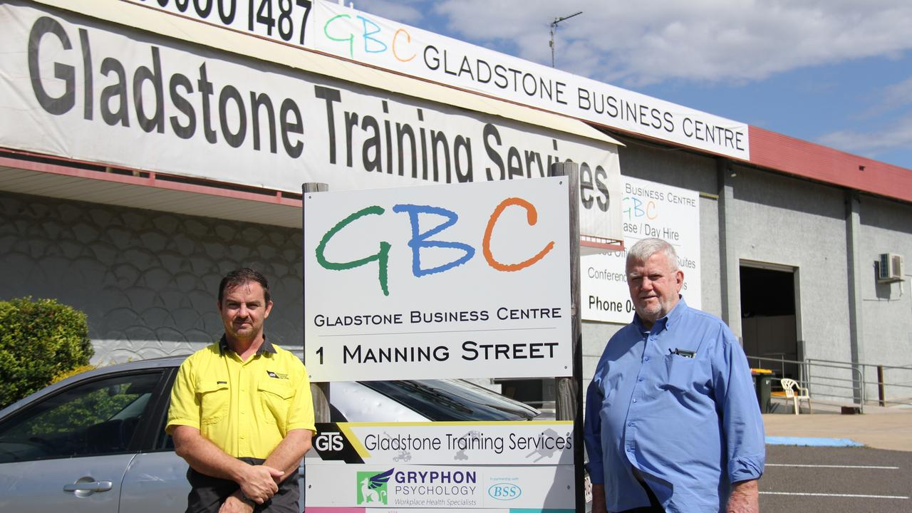 Gladstone Business Centre's Managing Directors Garry and Phil Douglass outside their carbon neutral premises on Manning Street, South Gladstone. Picture: Rodney Stevens