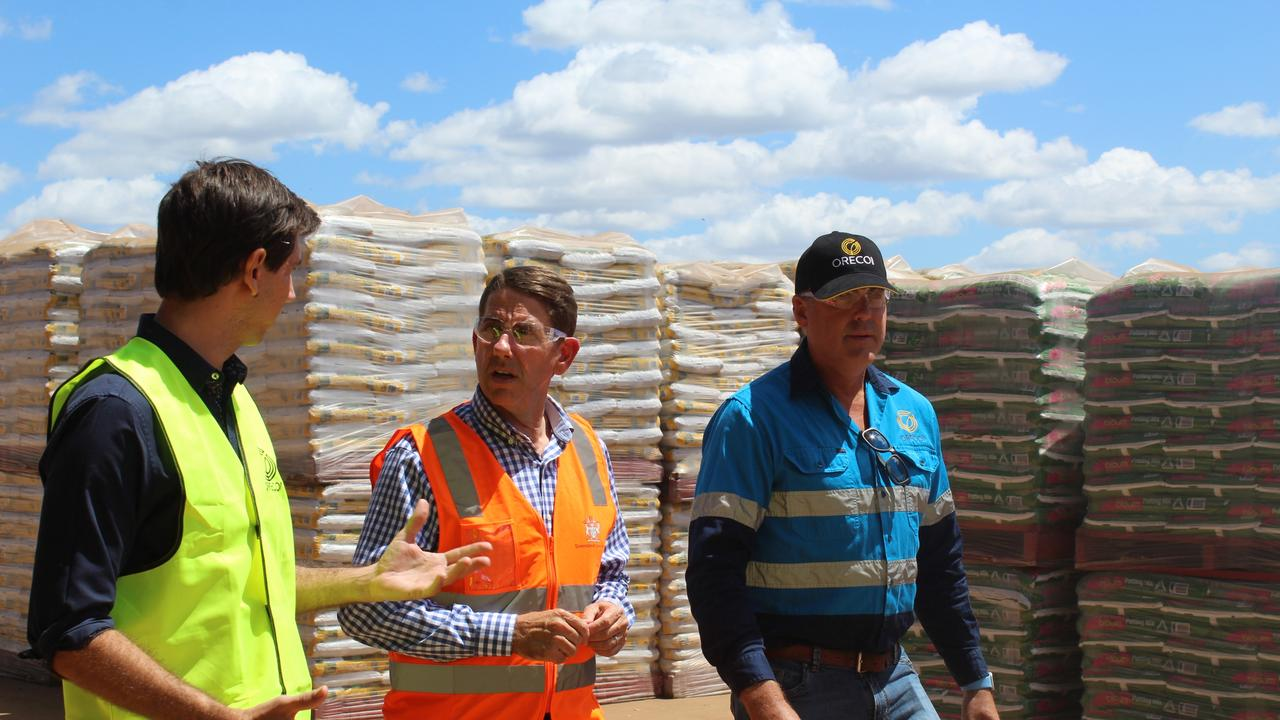 MULCH SUCCESS: Member for Bundaberg Tom Smith and Treasurer and Minister for Investment Cameron Dick tour Oreco Group's new facilities with managing director Paul Woosley.
