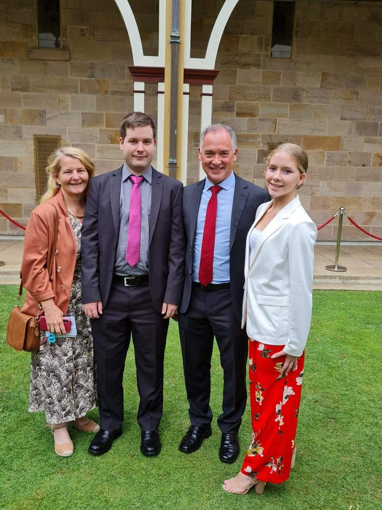 Adrian's ex-wife Sue, with Adrian and the two children they have together, Sam and Anna, at opening Parliament in November 2020.