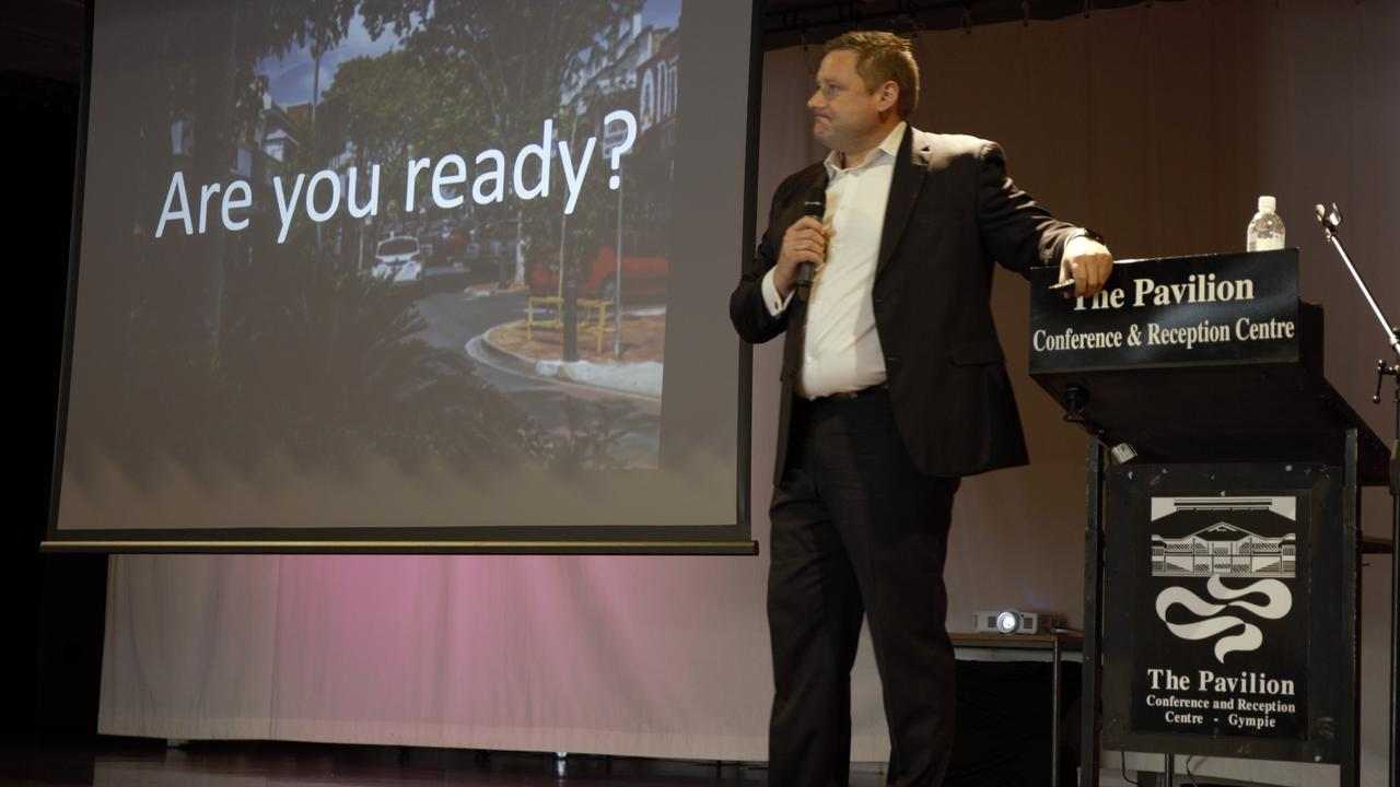 Neil Glentworth last time he addressed a Gympie Chamber of Commerce breakfast.
