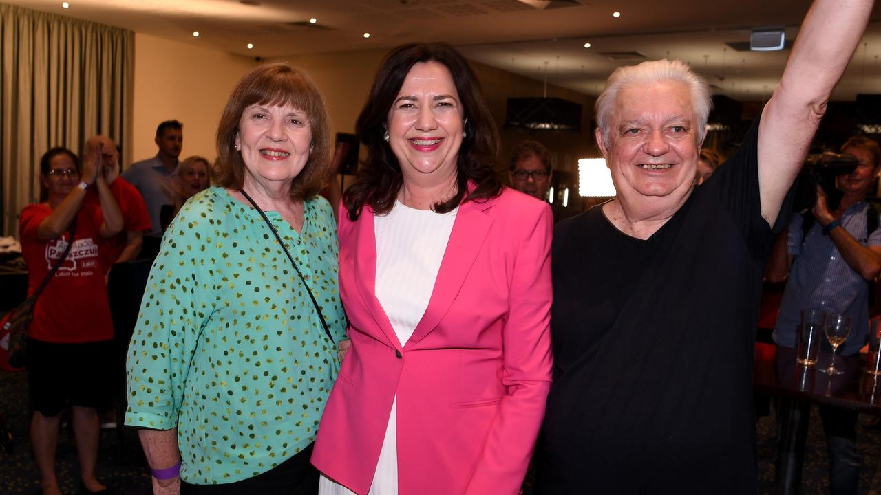 Premier Annastacia Palaszczuk with her parents Henry and Lorelle in October 2020 at her election night victory event. Picture: NCA NewsWire/Dan Peled