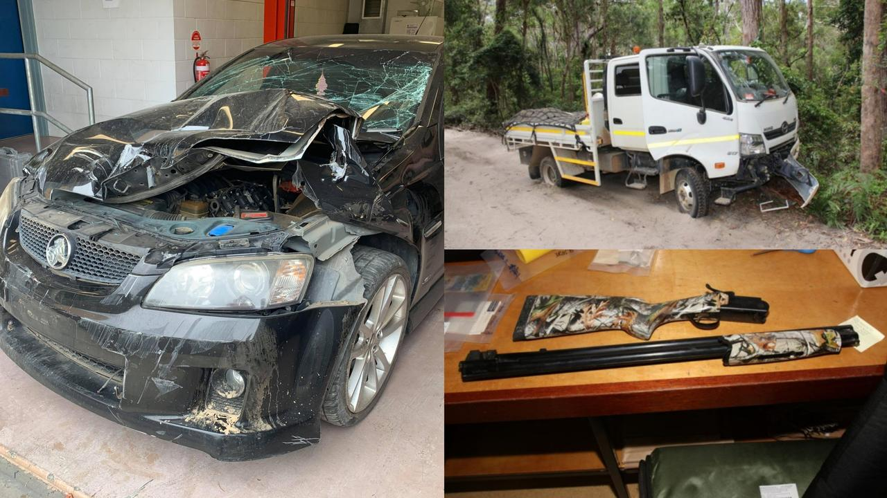 Mr Gallaher's Commodore on the left was severely damaged with a smashed windscreen and ripped up back tyres. Also pictured is the truck he crashed and the shotgun used.