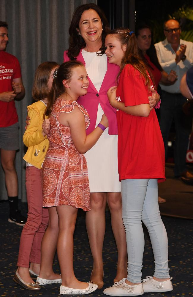 Premier Annastacia Palaszczuk celebrates her state election win with her nieces in October 2020. Picture: NCA NewsWire/Dan Peled