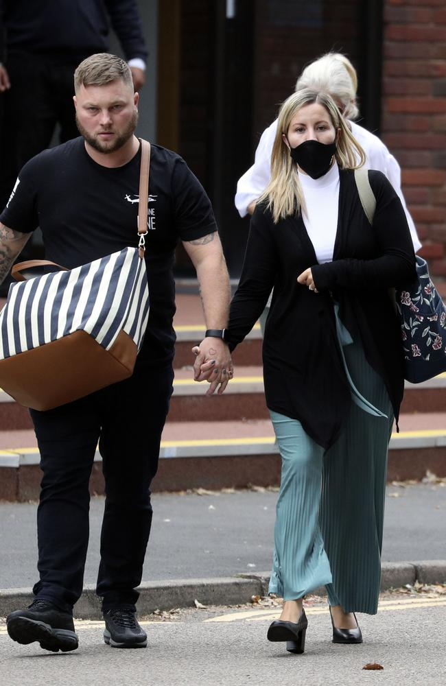 Teacher Kandice Barber, 35, leaves Aylesbury Crown Court, Buckinghamshire, with her husband Daniel, after a hearing last year. Picture: Steve Parsons/PA Wire