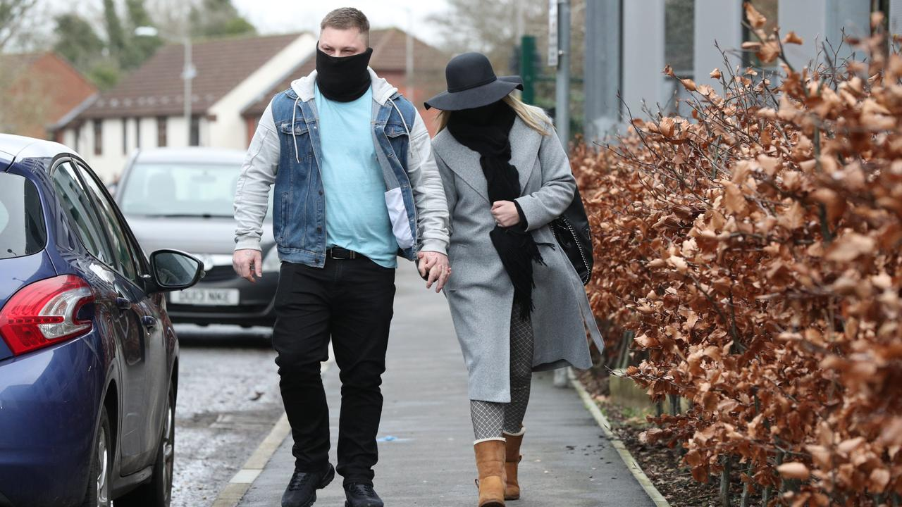 Daniel (left) stood by his wife Kandice Barber during her trial at the Amersham Crown Court northeast of London. Picture: Jonathan Brady/PA Wire
