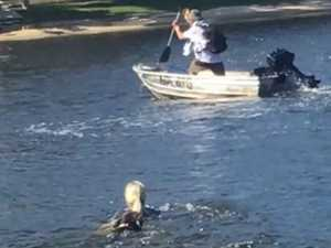 'Super mum' leaps into canal to chase down son's boat