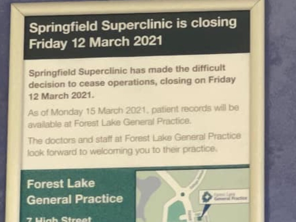 Signage at Springfield Superclinic details the impending closure. Pic: Tegan Marie