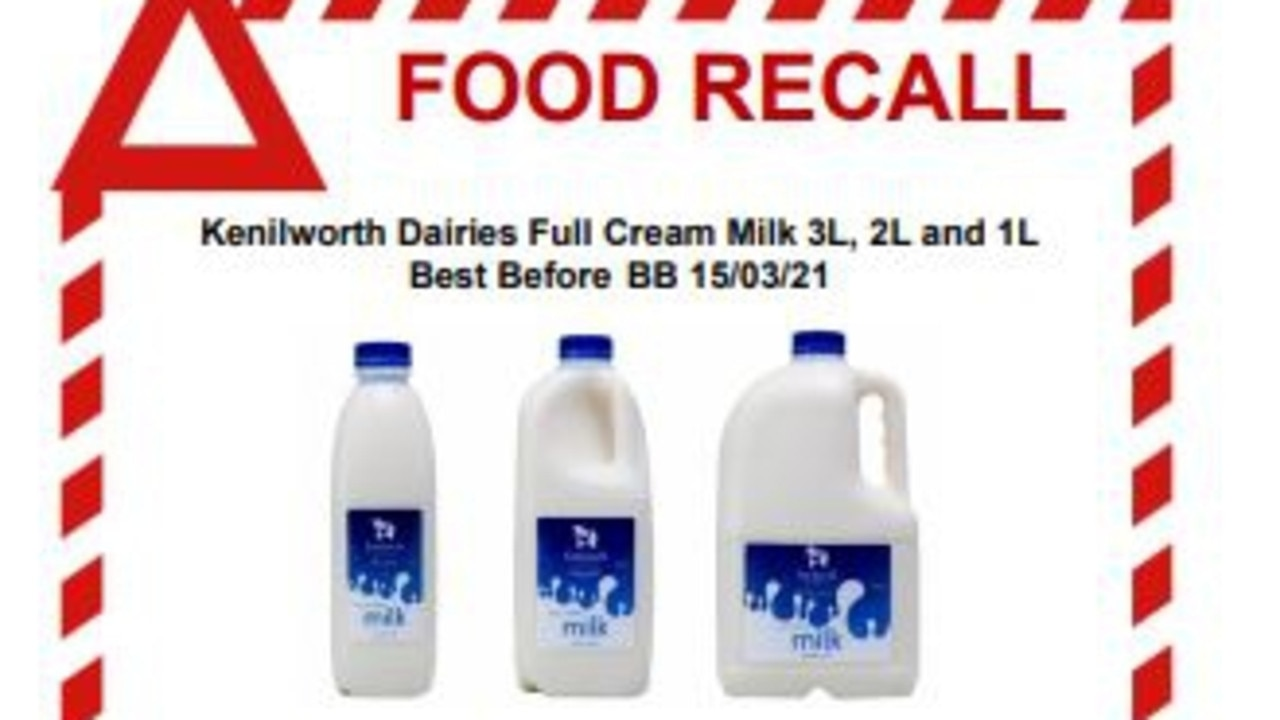 Kenilworth milk recall. Supplied