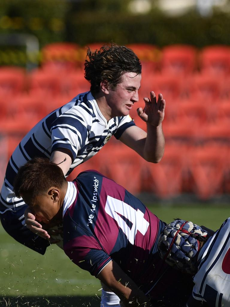Mustangs' Luke Cesari (left) playing for St Mary's last season. Picture: Kevin Farmer
