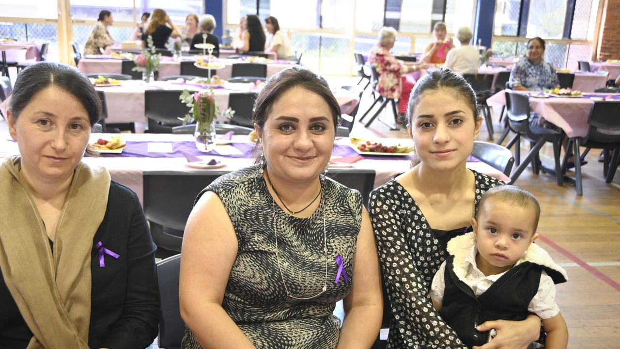 Enjoying a chat at the International Women's Day lunch are (from left) Nahla Tamar, Selwa Ibrahim and Samira and Alex Ibrahim.