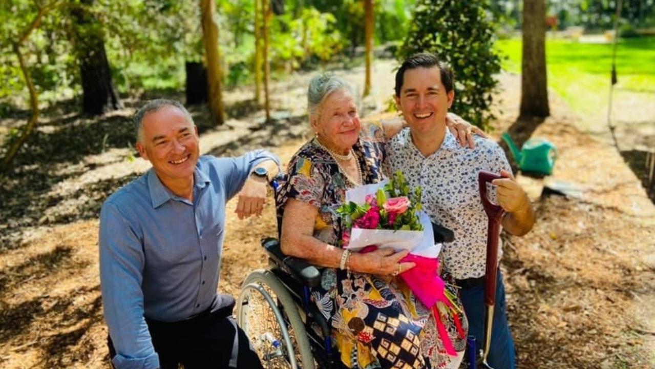 Hervey Bay MP Adrian Tantari and Fraser Coast Mayor George Seymour with the birthday girl, Hervey Bay's Edith Mathiesen.