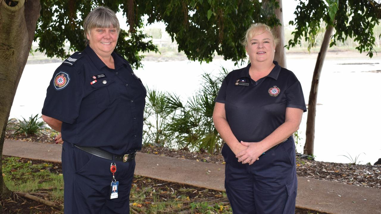 Rural Fire Service Volunteer and Firecom Officer Carol Wrage and QFES Community Engagement Officer Julianne Webster Scott. Picture: Aden Stokes