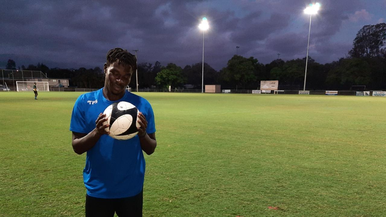 Western Spirit winger and regular goal scorer Charles Amalu at training. Picture: David Lems