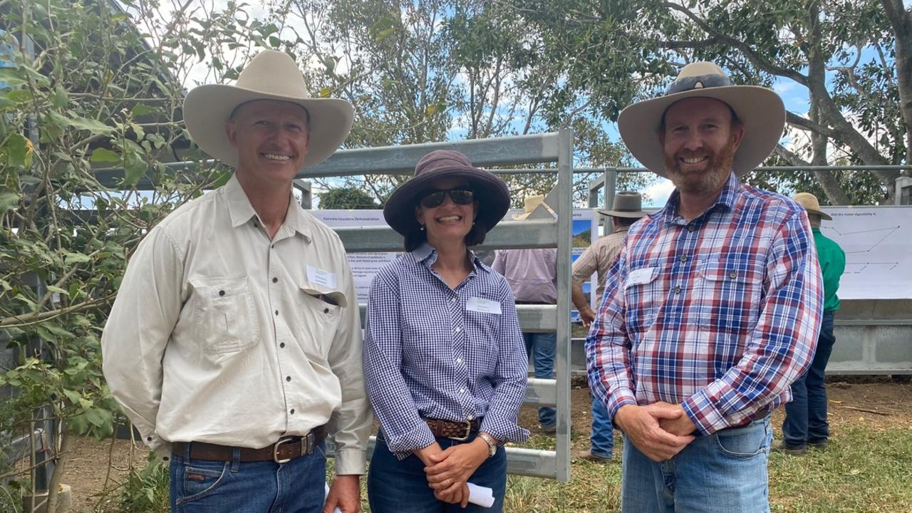 Calliope Cattle graziers Phil and Claire Mann and Stuart Buck at the recent Calliope Field Day.
