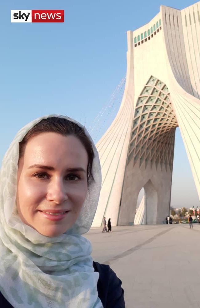 Before the nightmare ... Kylie Moore-Gilbert sightseeing in Tehran prior to her arrest, from Sky News world exclusive Escape From Iran.