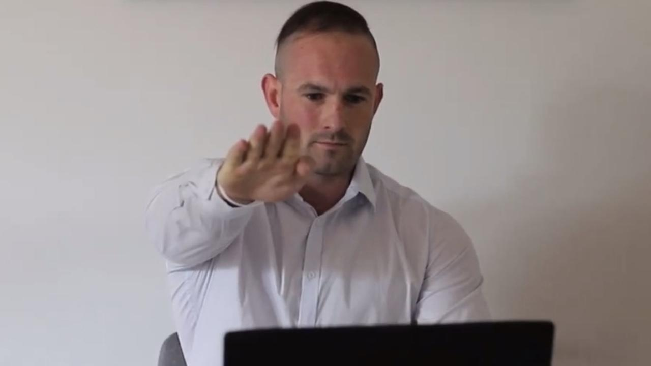 Neo-Nazi Thomas Sewell performs the heil Hitler salute at the end of an interview.