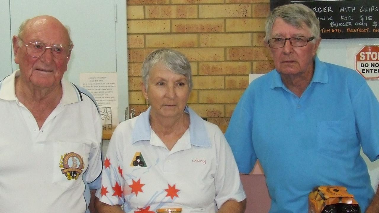 Cooloola Coast Bowls Ross Aird, Mary Lucas & David Collins.