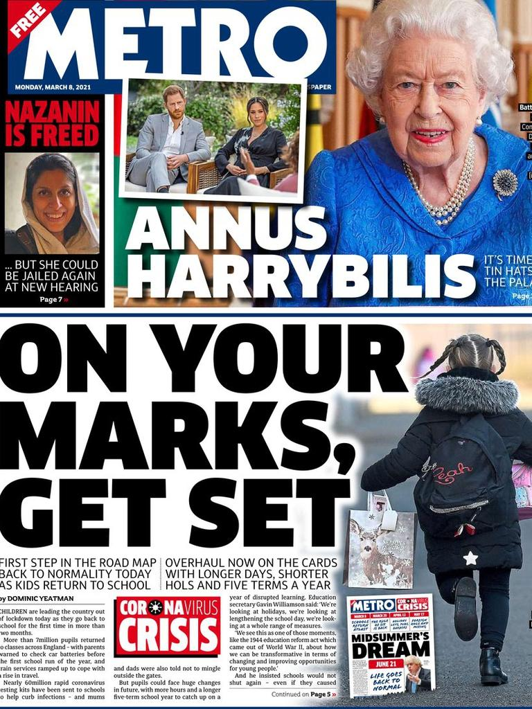 Metro front page from the UK Press. Picture: Supplied