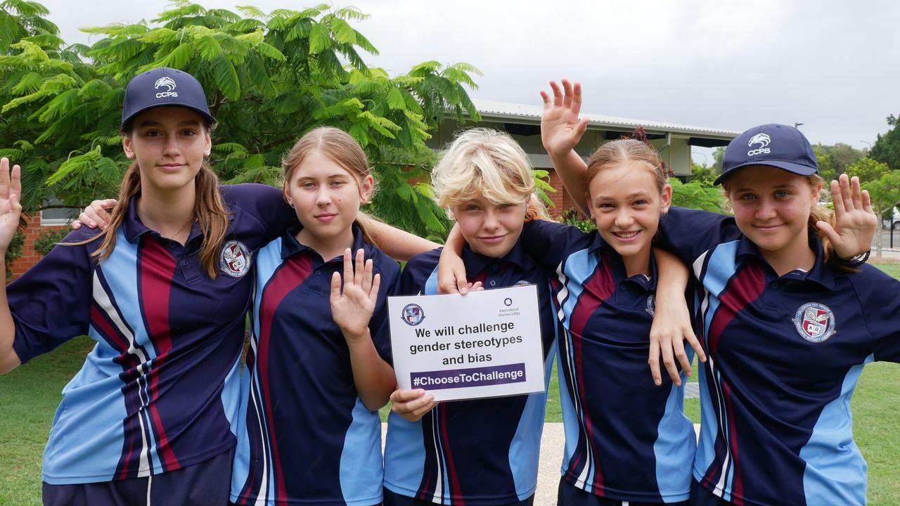 Caloundra City Private School student Sahara Thornton made the pledge to #ChooseToChallenge gender stereotypes on International Women's Day.