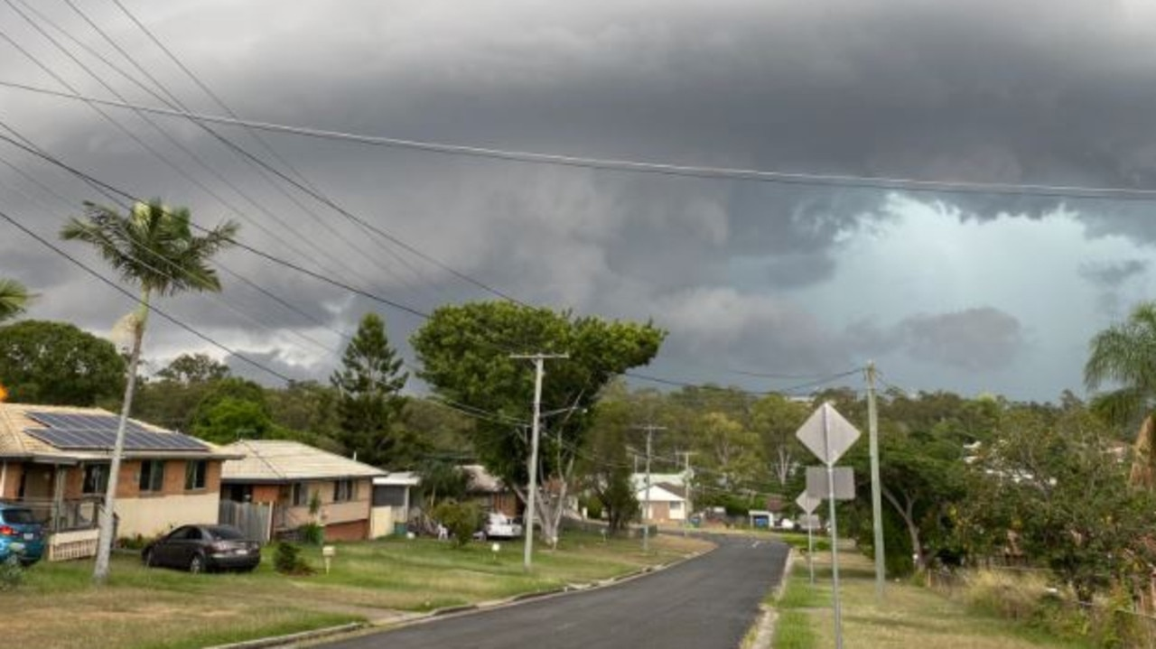 Storm clouds build over Goodna. Picture: SEQUEST
