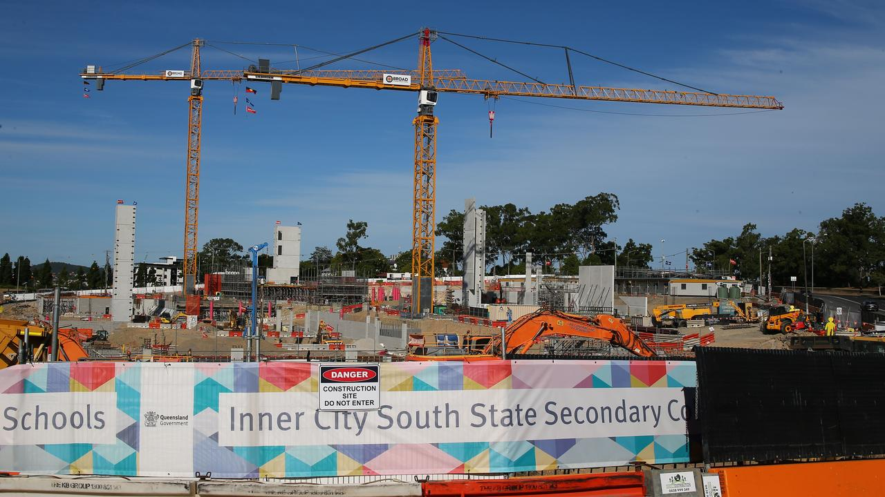 Inner City South State Secondary College while under construction at Dutton Park, Brisbane. May 9, 2020. Picture: David Clark