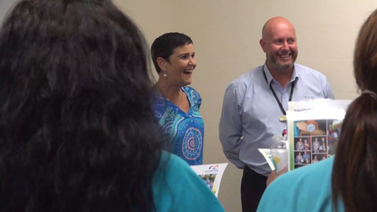 LVRC Mayor Tanya Milligan and Southern Queensland Correctional Centre Prison Director, Nick Rowe thank the women prisoners at SQCC for their work. Photo: Supplied.