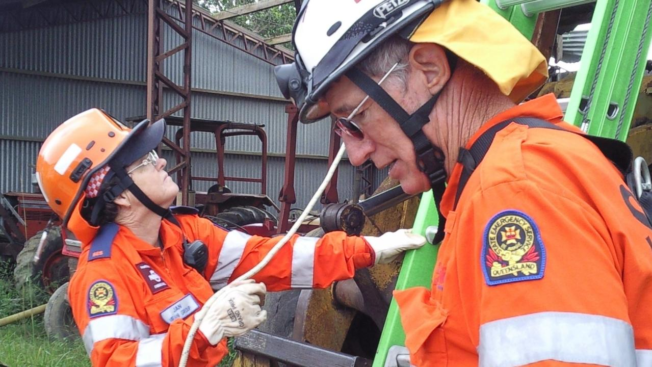 SES Mackay Regional Unit deputy local controller north Jan Lindbergs (left) during her deployment after Tropical Cyclone Yasi crossed the Queensland coast on February 3, 2011.