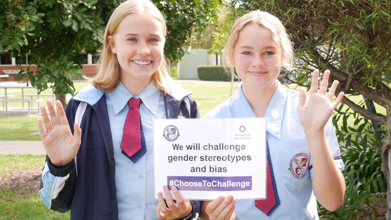 Caloundra City Private School students Sahara Thornton and Aimie D'Espagnac made the pledge to #ChooseToChallenge gender stereotypes on International Women's Day.
