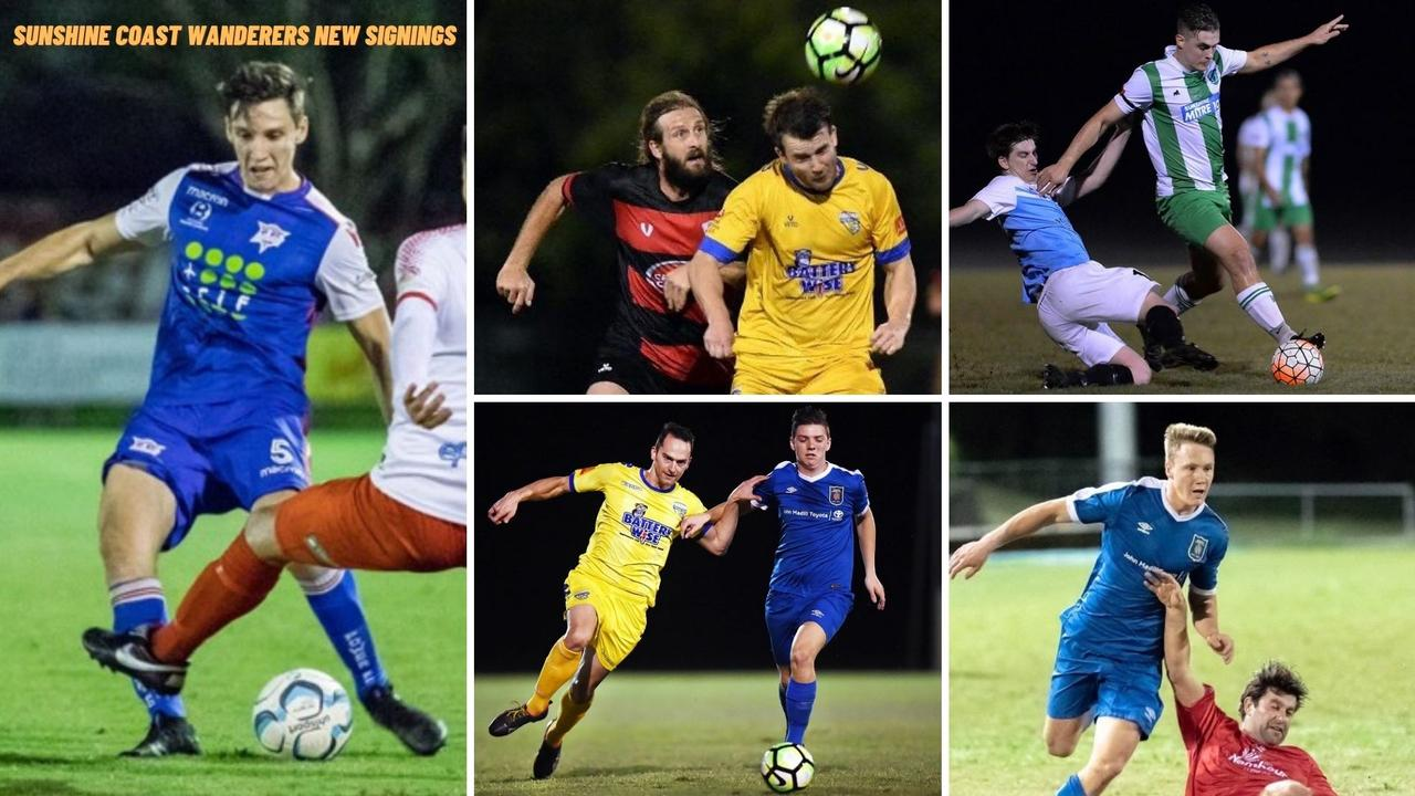 Sunshine Coast Wanderers 2021 signings from local leagues include, clockwise from left, Chris Jancevski, Josh Forshey (red), Jacob Fulluck, Andre Jancevski and Mitchell Bridge (blue).