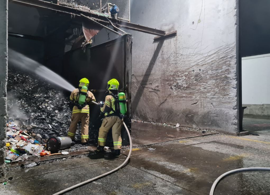 A fire at a recycling plant in Chinderah overnight has taken twenty-five firefighters to be extinguished. Photo: Fire and Rescue NSW Station 347 Kingscliff