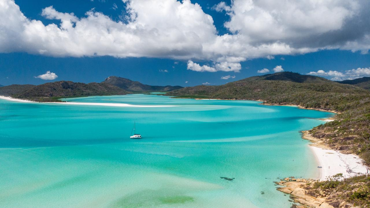 Aerial view looking towards Whitehaven Beach. Picture: Mark Fitz/Destination QLD