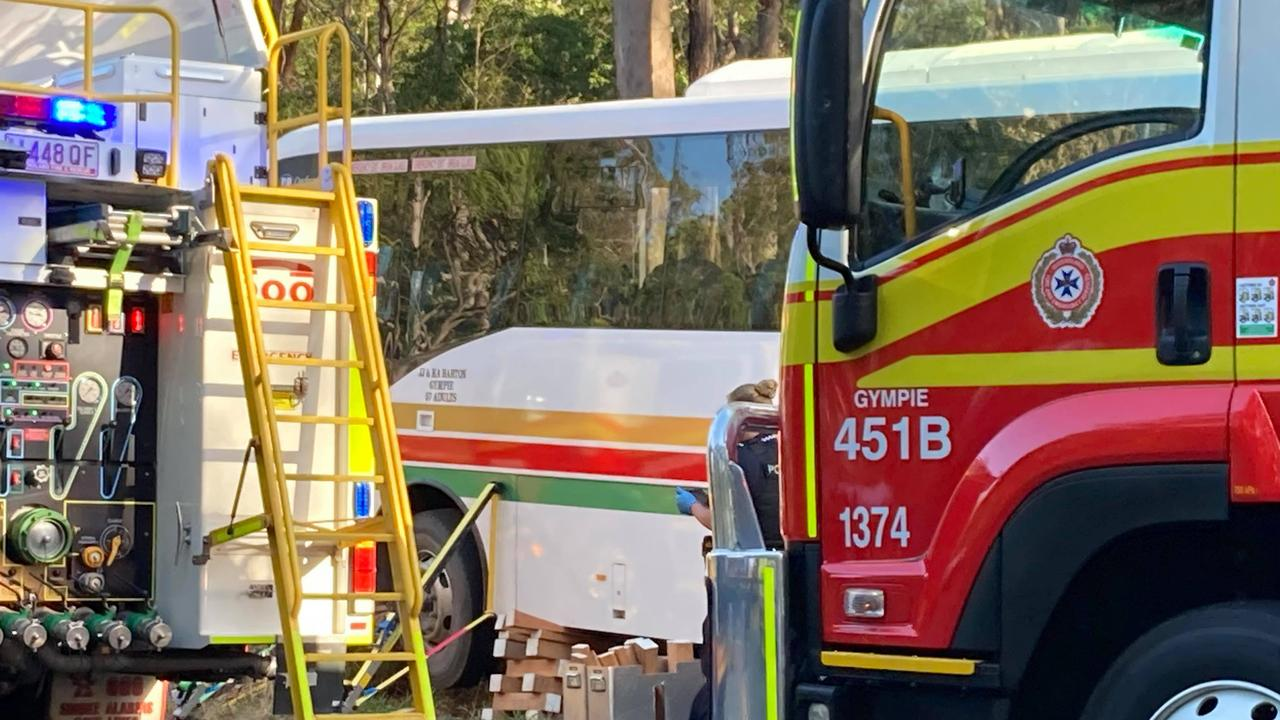 The driver of the full Gympie region school bus is already being hailed a hero for her efforts to avoid the crash.