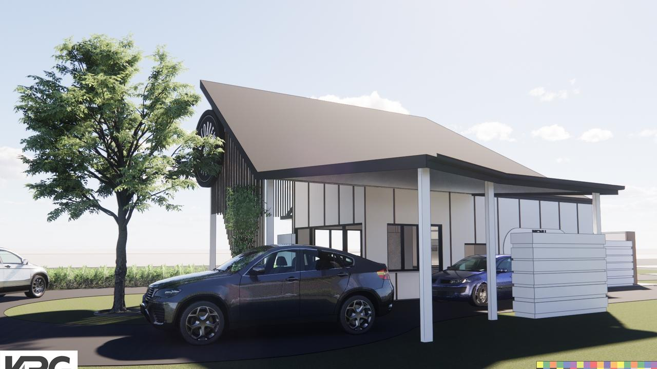 The drive-through coffee shop has order and pick up windows. Renders by Design + Architecture.