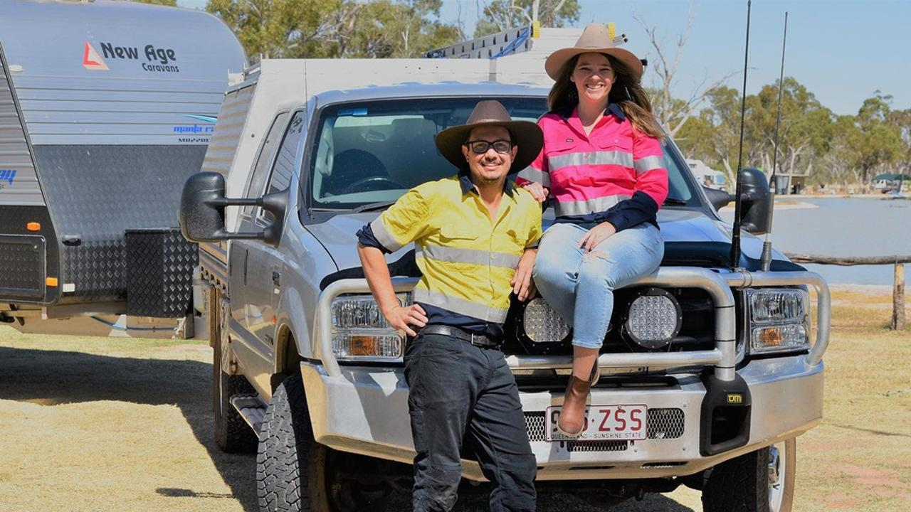 """Myles Bradley and Sarah Bradford are known as """"tradie nomads"""" after starting their business Outback Tradie, which has allowed them to pursue their dreams of travelling Australia while working."""
