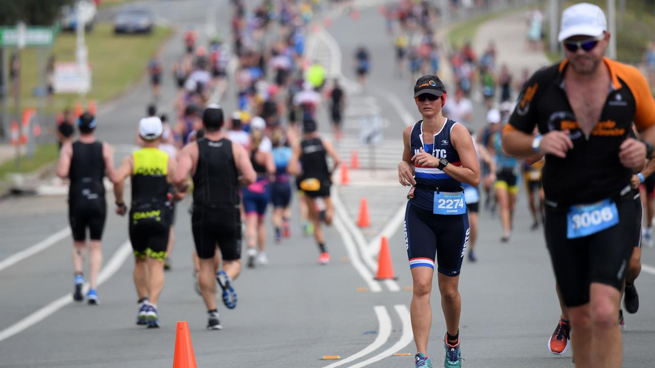 More than 3500 are set to sweat it out over swim, bike and run legs this Saturday and Sunday during the Mooloolaba Triathlon. Picture: Delly Carr