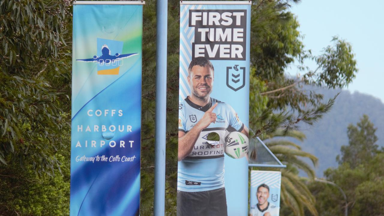 The Cronulla Sharks are taking on the Gold Coast Titans at C.ex Stadium, Coffs Harbour in the region's first NRL Premiership match on May 30, 2021. Photo: Tim Jarrett