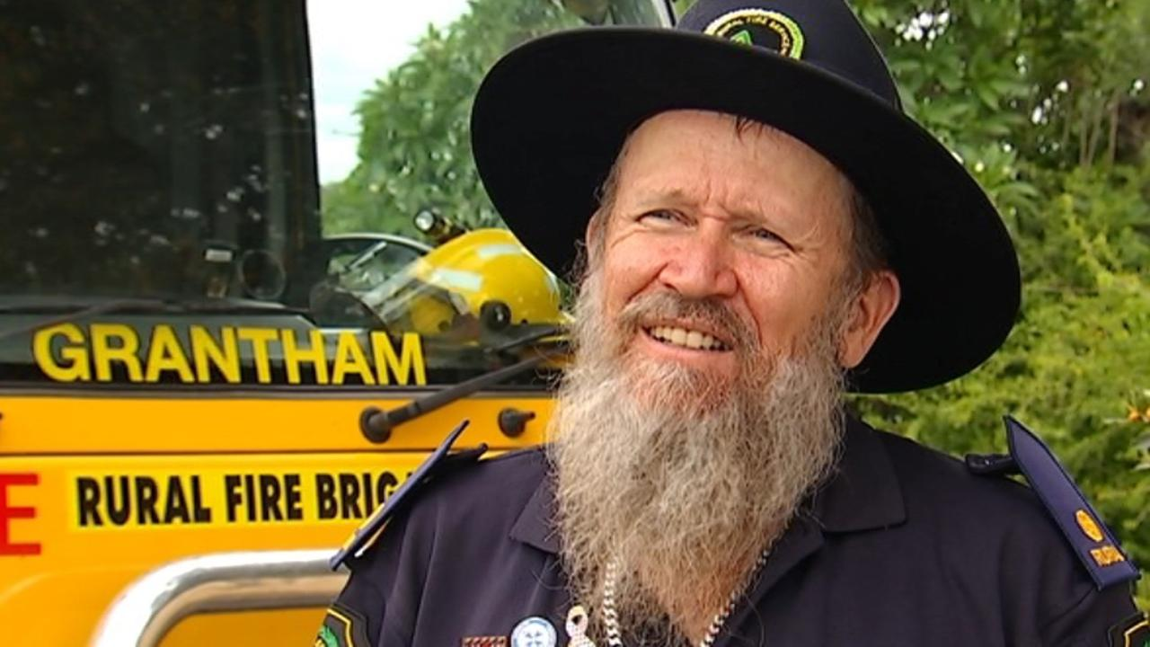 Grantham RFB volunteer Geoff Purton shaved off his hair and beard to raise money for victims of the 2019/20 bushfires. Photo: 7 News.