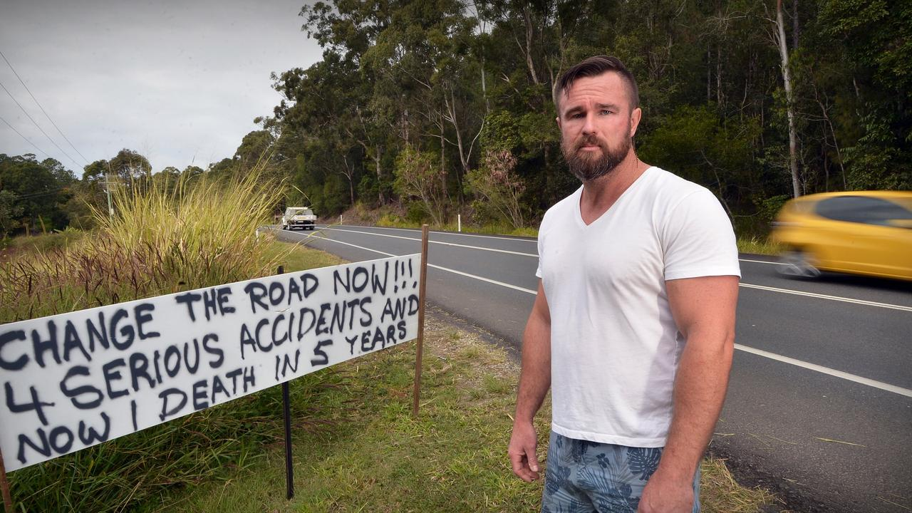 Eumundi resident Joshua Wiersma put a sign up petitioning for a road to be fixed and speed limit lowered in 2018 after attending a serious crash in front of his home. Picture: Patrick Woods.